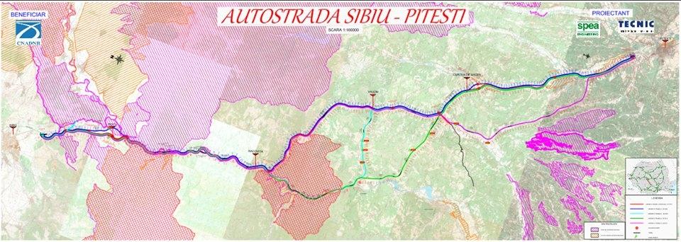 Harta traseu Sibiu-Pitesti