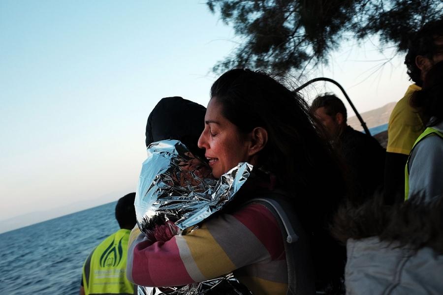 Refugiați sirieni ajung în Insula Lesbos, Grecia