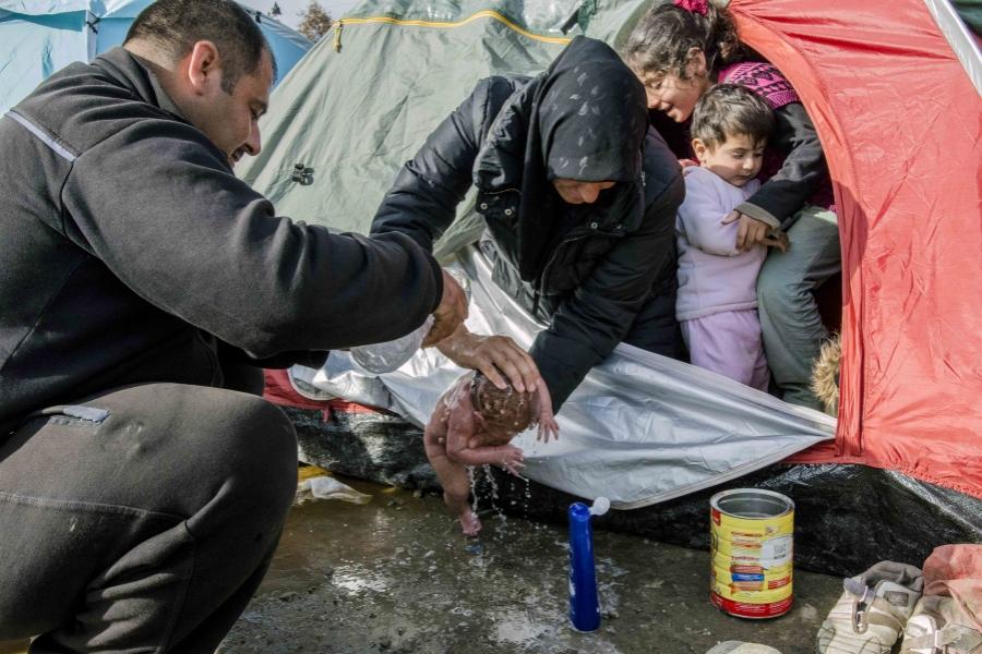Tabără de refugiați din Grecia