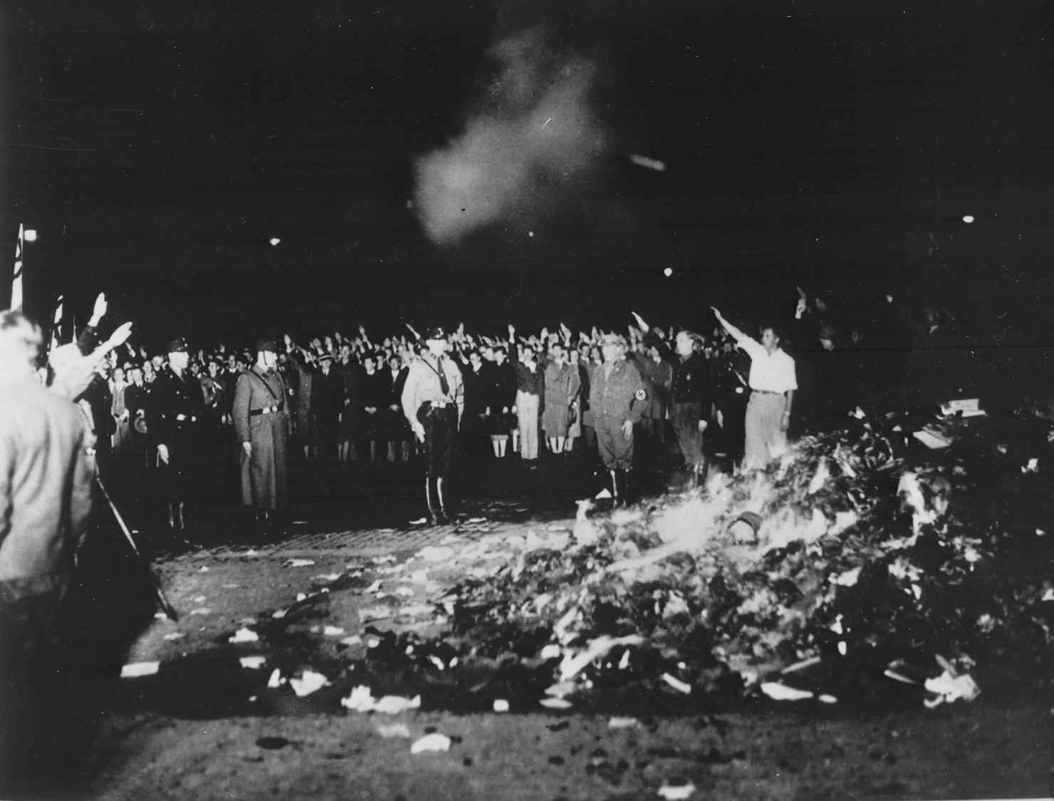 Naziștii ard cărți în Germania