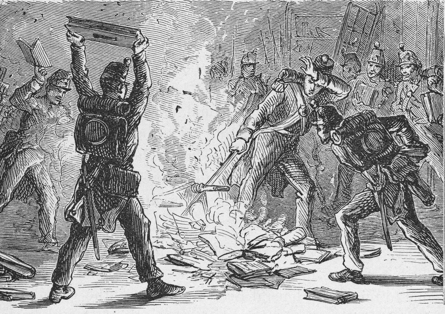 Soldați britanici arzând cărți în biblioteca Congresului