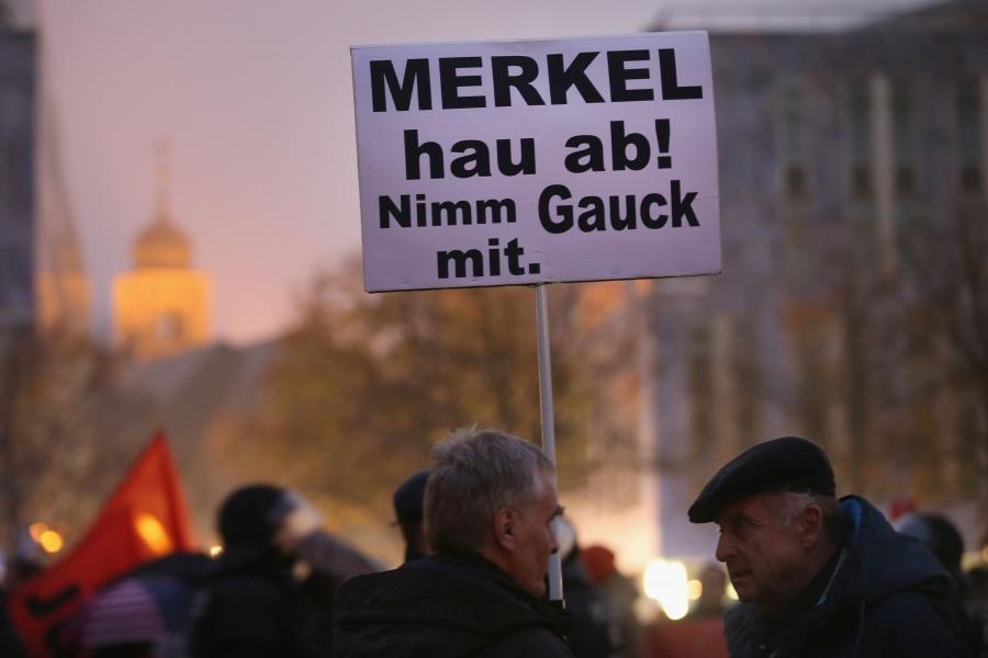 Merkel - protest