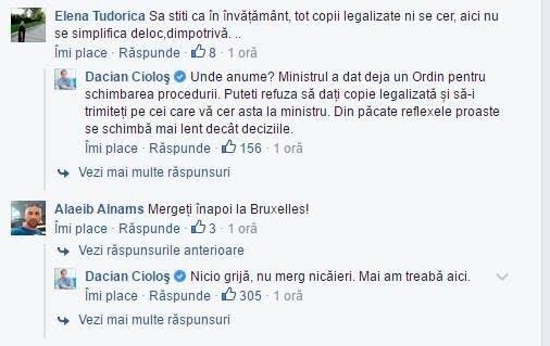 Cioloș pe Facebook