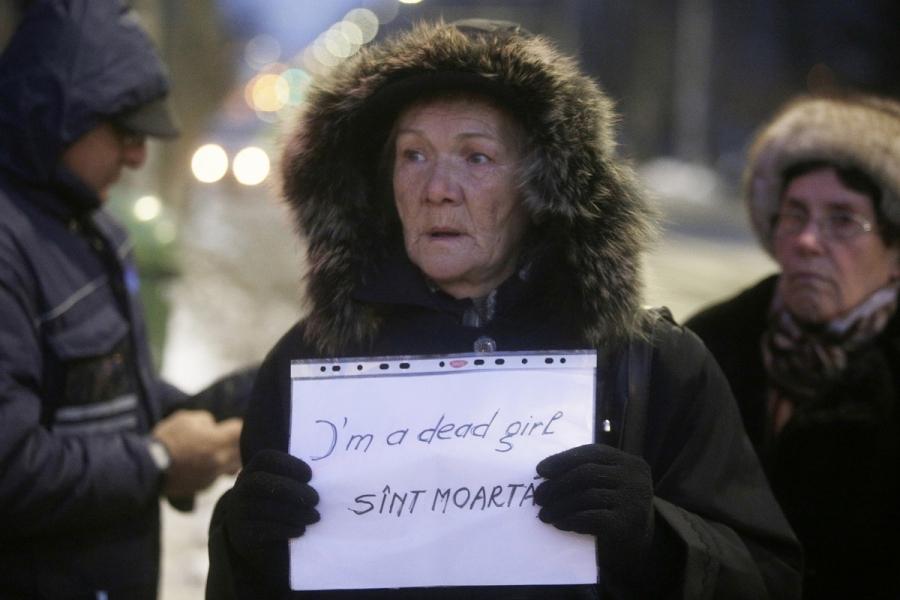 Protestatară Cotroceni