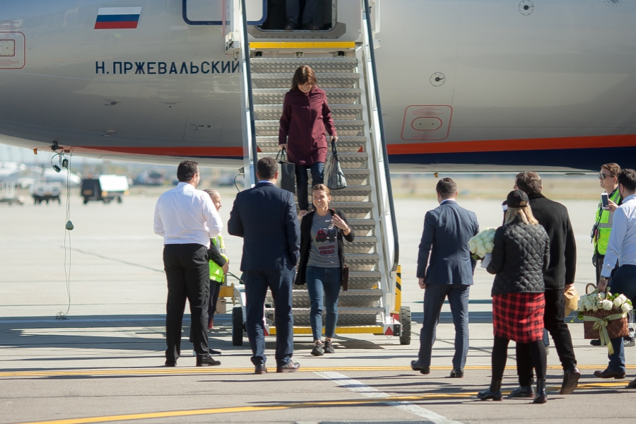 Simona Halep la aeroport