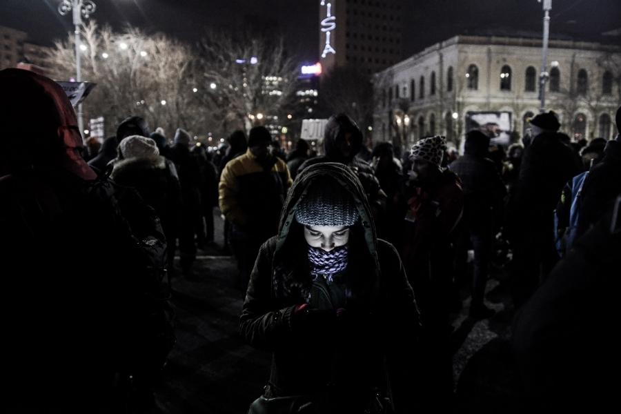 Protestatară Piața Victoriei