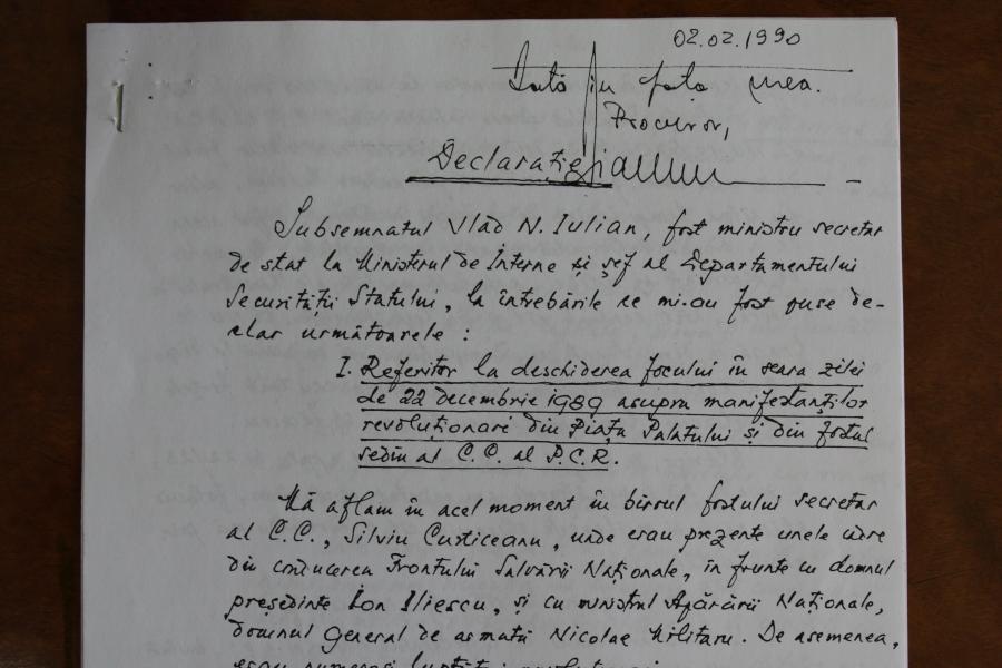 Iulian Vlad - declarație olografă