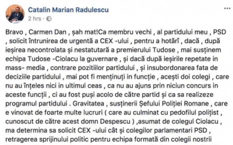 Postare Cătălin Rădulescu