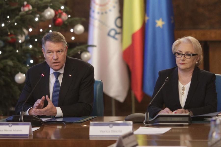 Klaus Iohannis, Viorica Dăncilă la ședința de Guvern