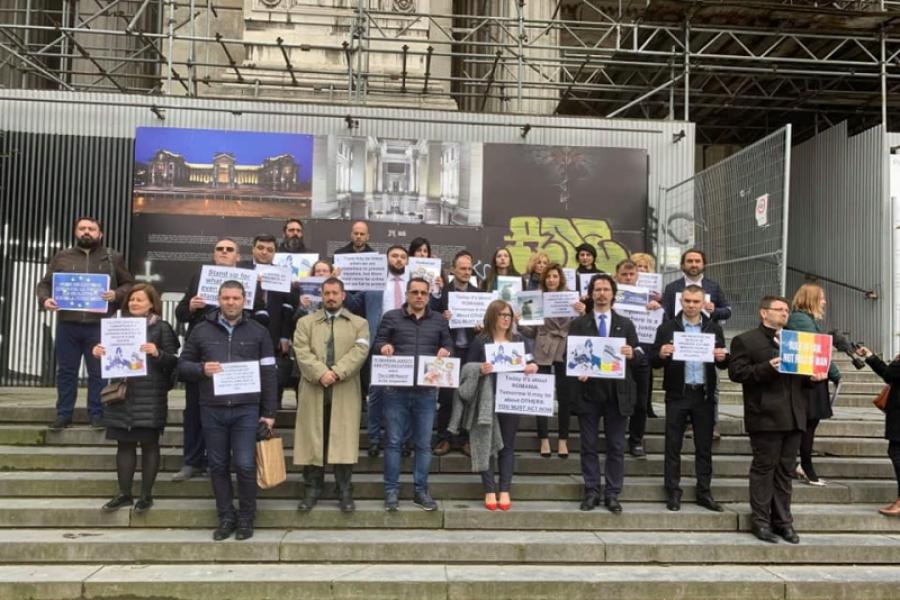 Protestul magistraților la Bruxelles