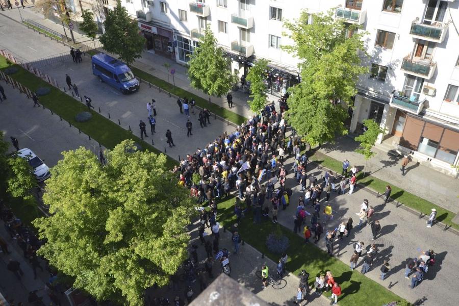 Protest Iași, barieră