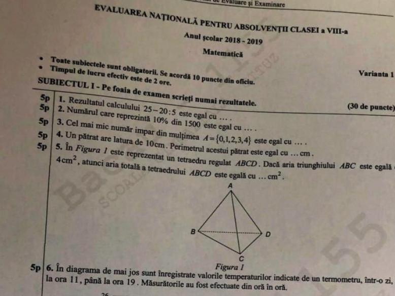 Subiecte matematică