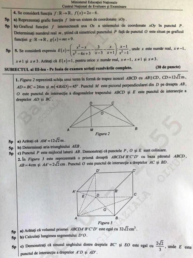 Subiecte matematică 2