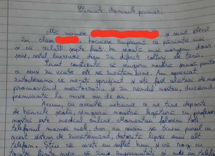 Scrisoare elevă