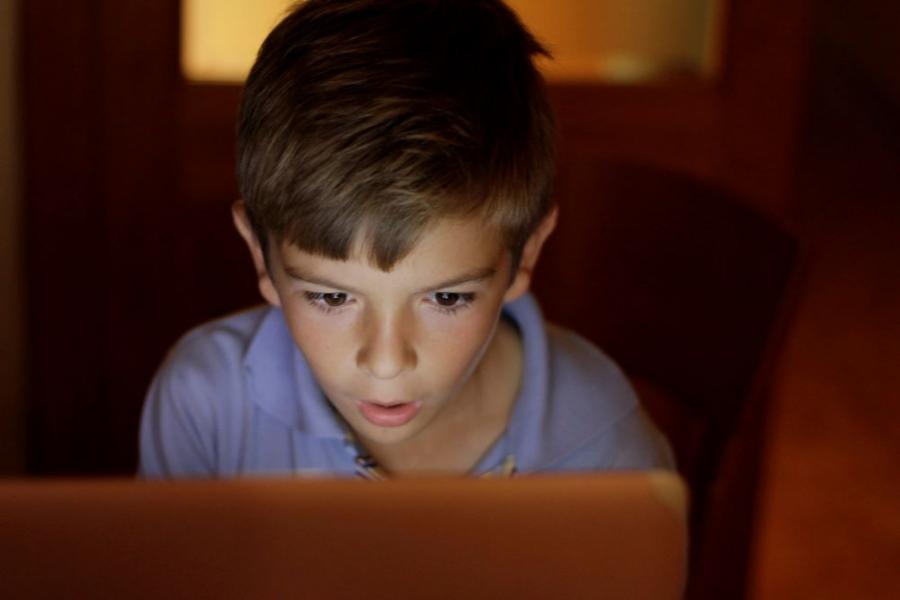 Copil, scoala online