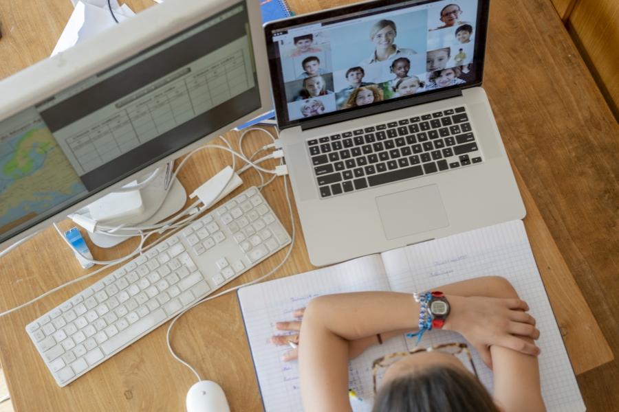 Fetita la scoala online