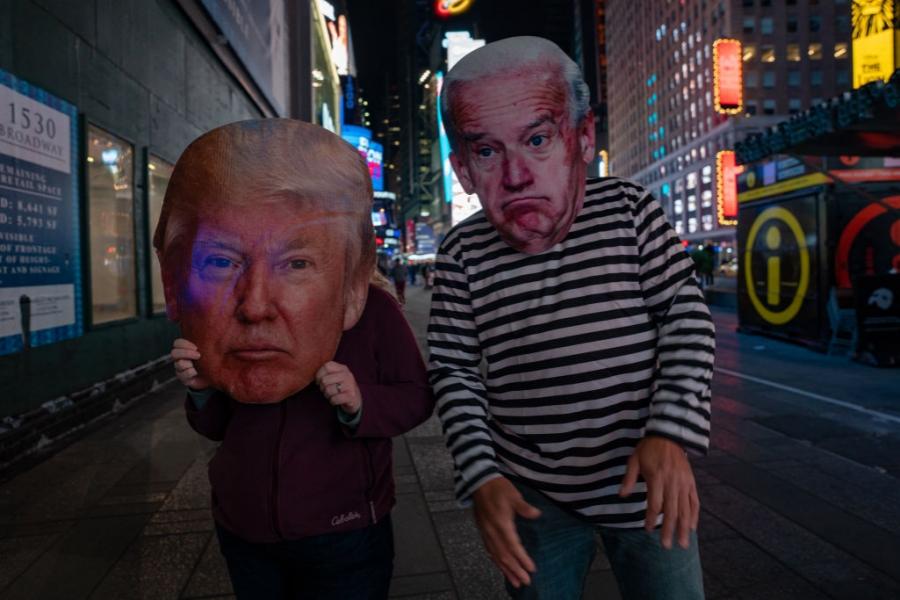 Joe Biden - Donald Trump - maști