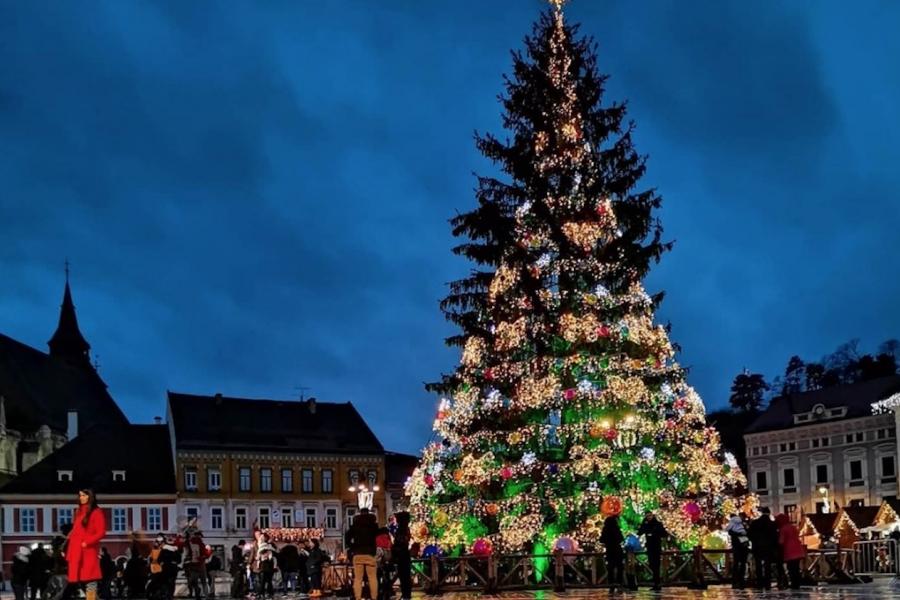 Piața Sfatului Brașov, brad de Crăciun